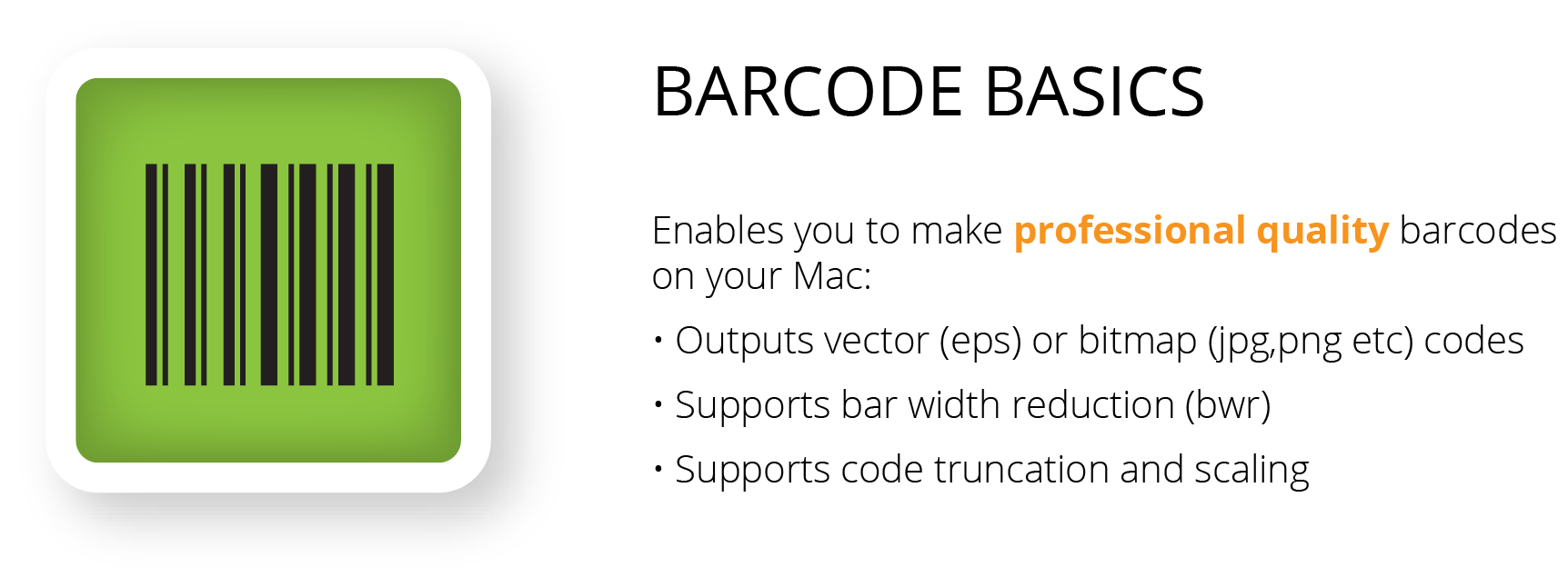 Pro quality mac barcode software