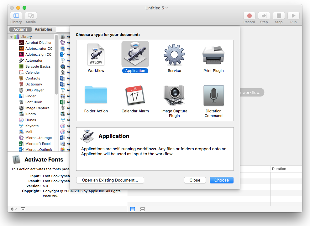 Using Automator to convert Pages to PDF