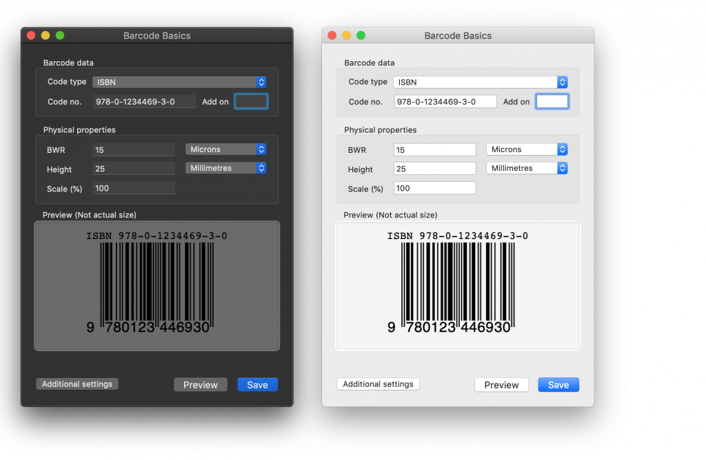Barcode Basics fully supports dark mode in macOS Mojave